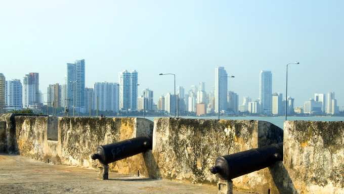 historic cannons fortress The Wall Cartagena Colombia South America  view Bocagrande beach resort
