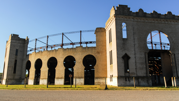Plaza de toros Real de San Carlos in Colonia del Sacramento, Uruguay. It is currently a derelict building that is crumbling down.
