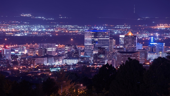 Salt Lake City Night Scenery. Cityscape at Night. City Illumination.