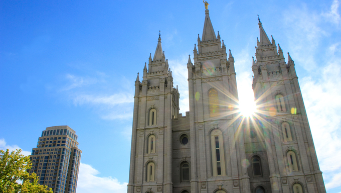 Temple of The Church of Jesus Christ of Latter-day Saints with sunburst, Salt Lake City, Utah. Salt Lake City is the capital and the most populous city in Utah