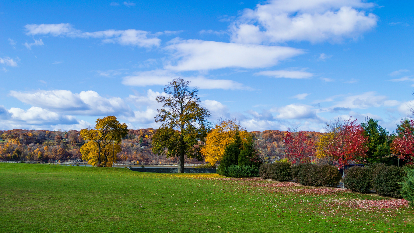 Fall colors along the Hudson River in Poughkeepsie New York. Near New York, New York.