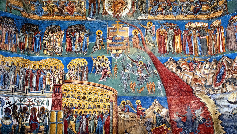 """""""the judgment day"""" fresco on western wall of 15th century Voronet monastery; Suceava county; Moldova; Bucovina;  Romania"""