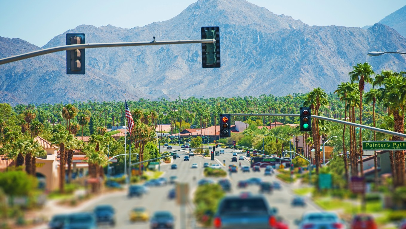 Palm Springs Highway and the Cityscape. Palm Springs, California, United States. Coachella Valley.