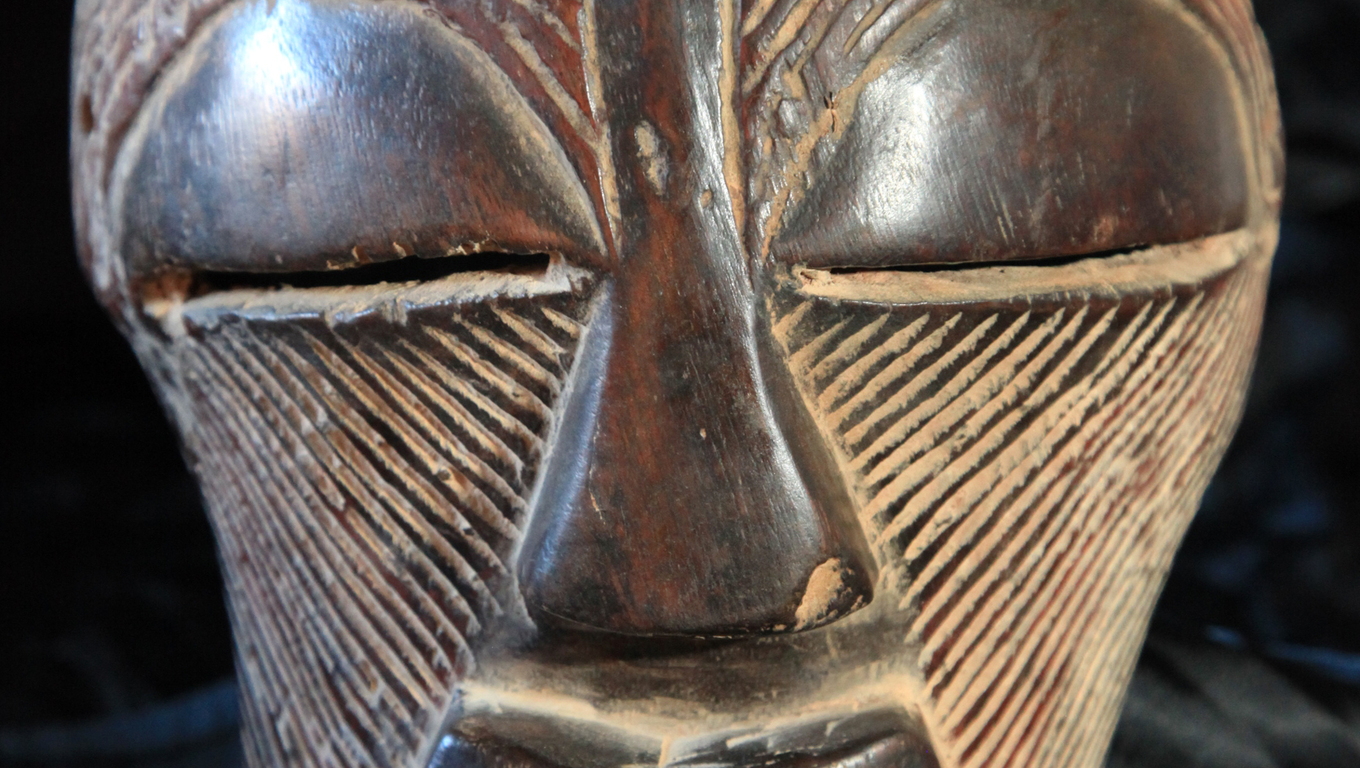 African Tribal Wooden Hand Carved Mask From Congo