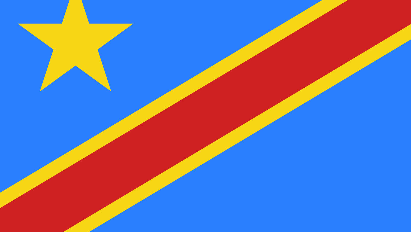 Flag of Democratic Republic of Congo in official rate and colors, vector.