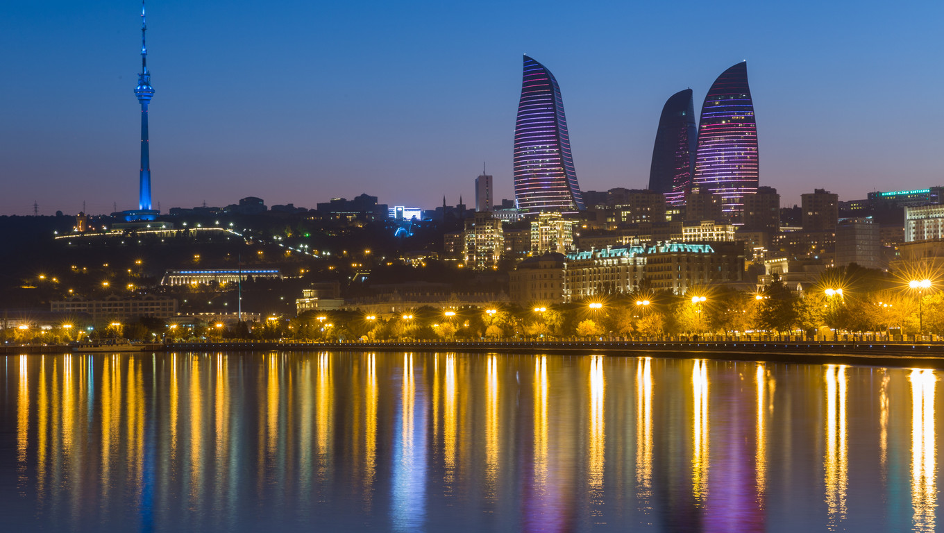 Flame Tower in Baku sunset buildings