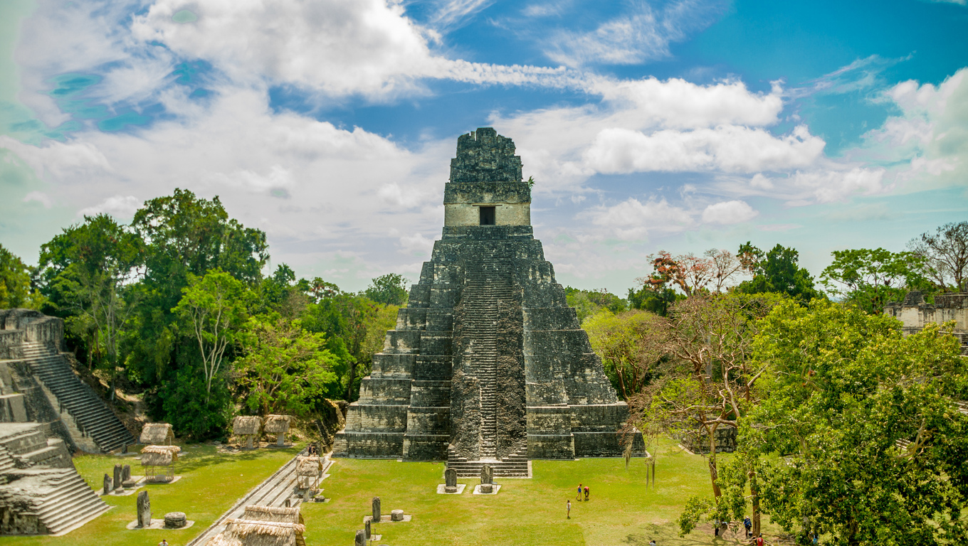 tikal mayan ruins of ancient city in guatemala rainforest