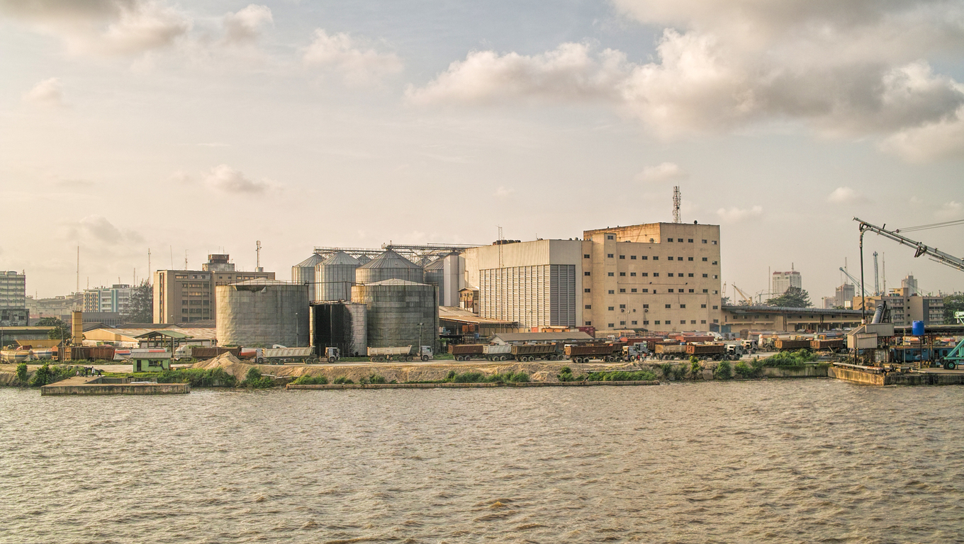 silos of fluor in lagos harbour