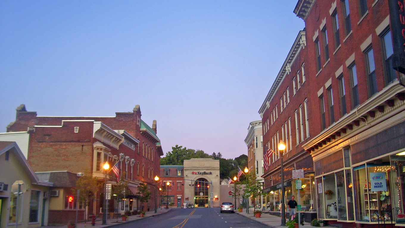 Downtown Hoosick Falls, a small town located next to Utica.