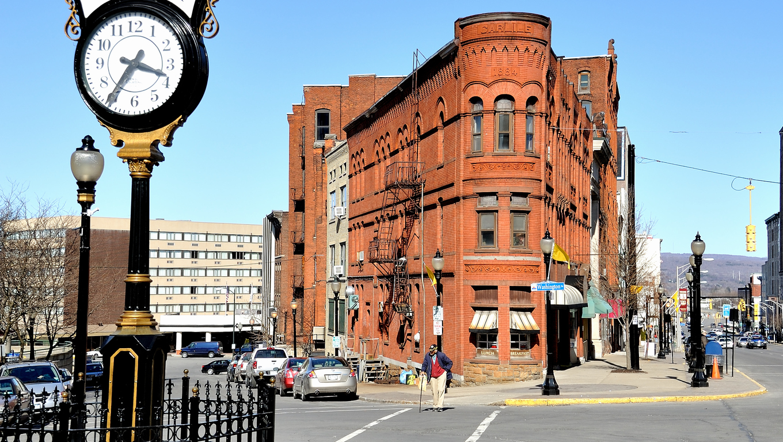 The Utica clock on Genesee Street, Utica, New York State USA.