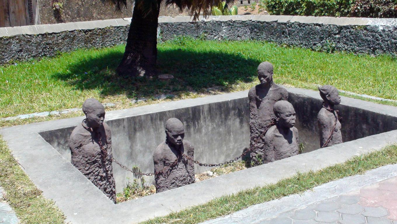Slave sculptures in Stone Town, Zanzibar, Africa.